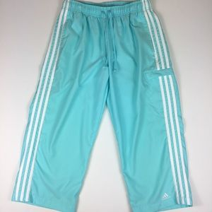 adidas Light Blue Cropped Track Pants